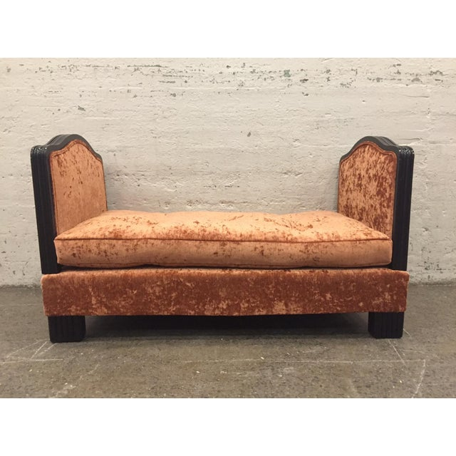French Art Deco velvet daybed or large bench with removable ends. Has black lacquered trim and legs.
