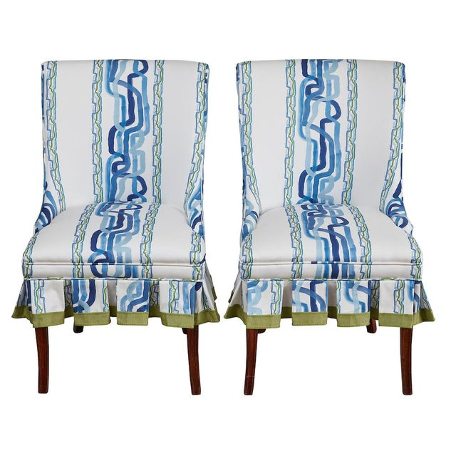 Mid 20th Century Occasional Chairs in Ferrick Mason's Forever Blue Whiskey Stripe - a Pair For Sale - Image 9 of 9