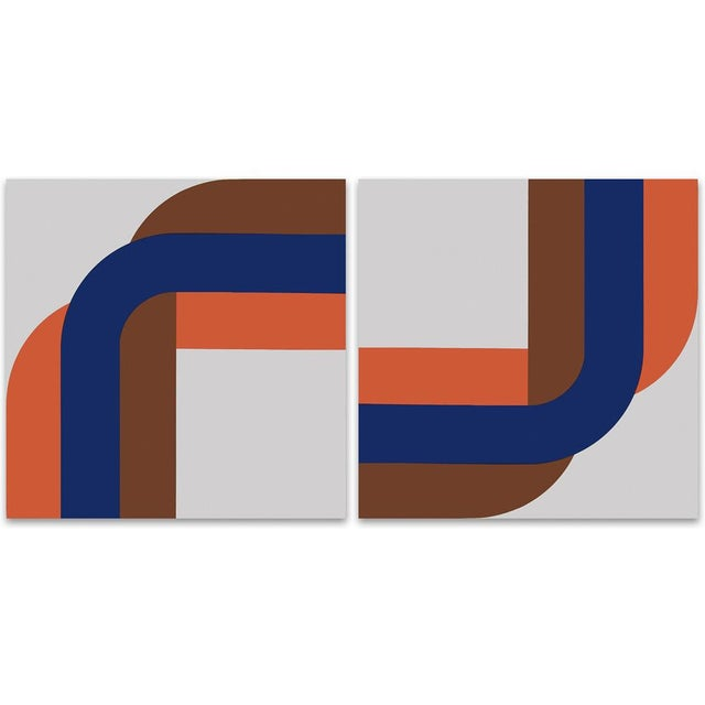 Right Angle Blue & Brown Gallery Wrap Print - Pair - Image 1 of 2