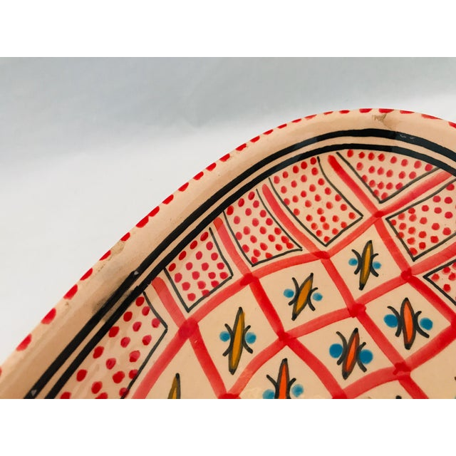 Boho Chic Vintage Terra Cotta Mexican Painted Dish Server For Sale - Image 3 of 10