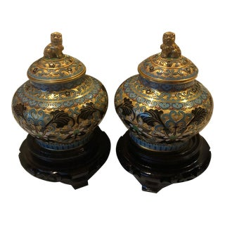 Jingfa Handmade Cloisonne Ginger Jars With Foo Dog on Lids - a Pair For Sale