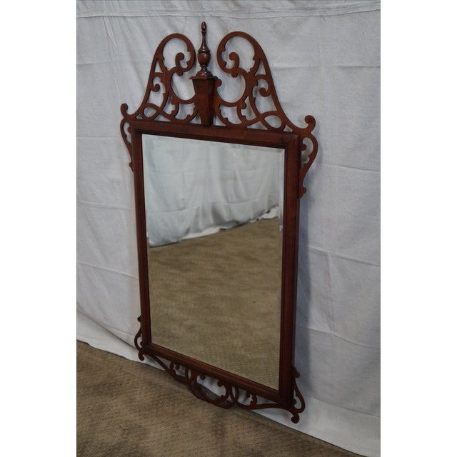 Quality mahogany chippendale beveled glass mirror chairish for Mirror quality