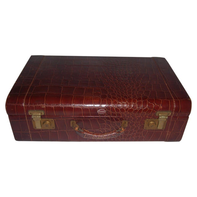 Vintage Towne Faux Alligator Leather Suitcase - Image 1 of 7