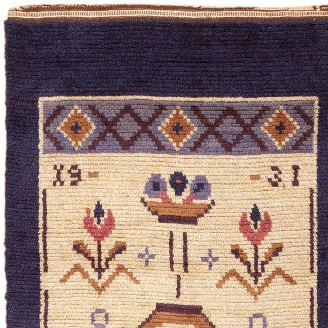 Country Vintage Swedish Wool Rug - 4′ × 9′7 For Sale - Image 3 of 6