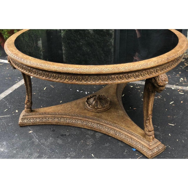 Carved Italian Rams Head Center Table W Granite Top