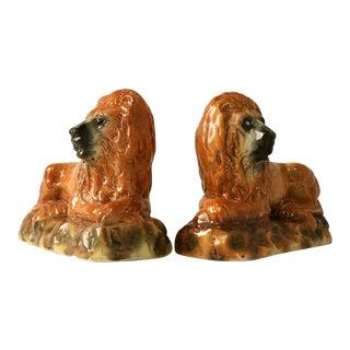 Antique Scottish Staffordshire Porcelain Lions - a pair For Sale