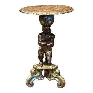 19th Century Italian Carved Polychrome and Gilt Blackamoor Pedestal Table