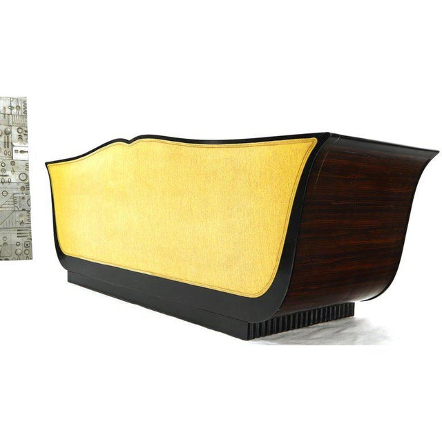 Gold Large French Art Deco Rosewood Sofa in Gold Upholstery Scalloped Edge For Sale - Image 8 of 13