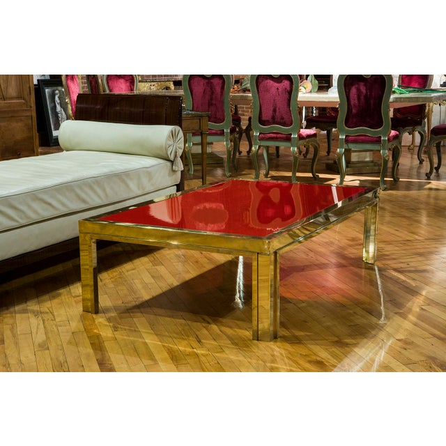 Italian Brass and Red Lacquered Low Table For Sale - Image 4 of 4
