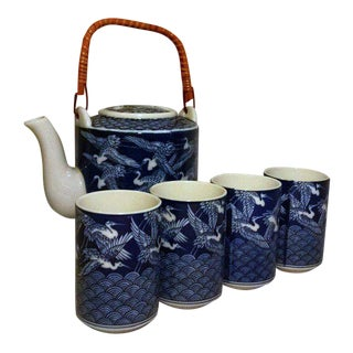 Chinese Ceramic Blue & White Crane Tea Set - Set of 5