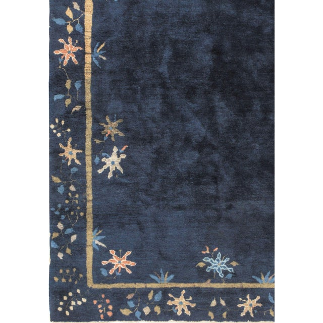 1920s Art Deco Vintage Chinese Navy Rug Circa 1920 4' X 6'7 For Sale - Image 5 of 6