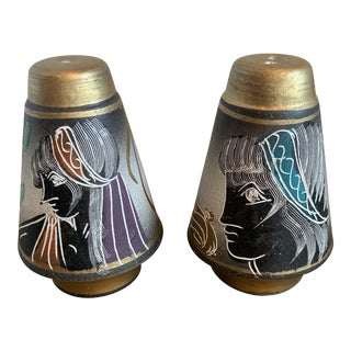 Etruscan Grecian Style Salt and Pepper Shakers - a Pair For Sale