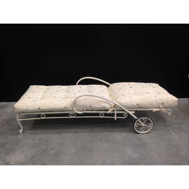 About Vintage French style wrought iron chaise longue with cushion The wrought iron patio or porch garden chaise longue...