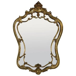 1960s Italian Gilt Carved Wood Mirror For Sale
