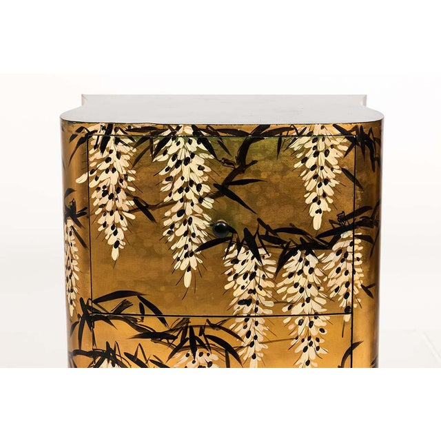 Asian Pair of Gold Lacquered Chinese Chests For Sale - Image 3 of 13