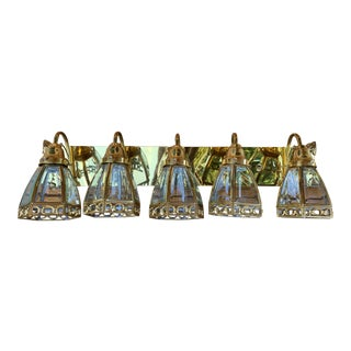 Vintage Brass Light Bar With Glass Pendants For Sale