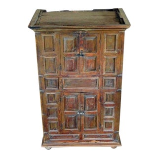 Rustic Indian Wood Cabinet With Five Hand Carved Doors, Mid-19th Century For Sale