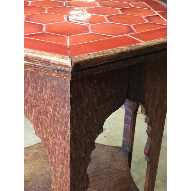 Edwardian Early 20th Century Arts and Crafts Tile Topped Oak Side Table From England For Sale - Image 3 of 5