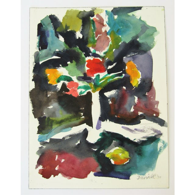 Original Floral Watercolor by George Daniell, 1990 - Image 1 of 3
