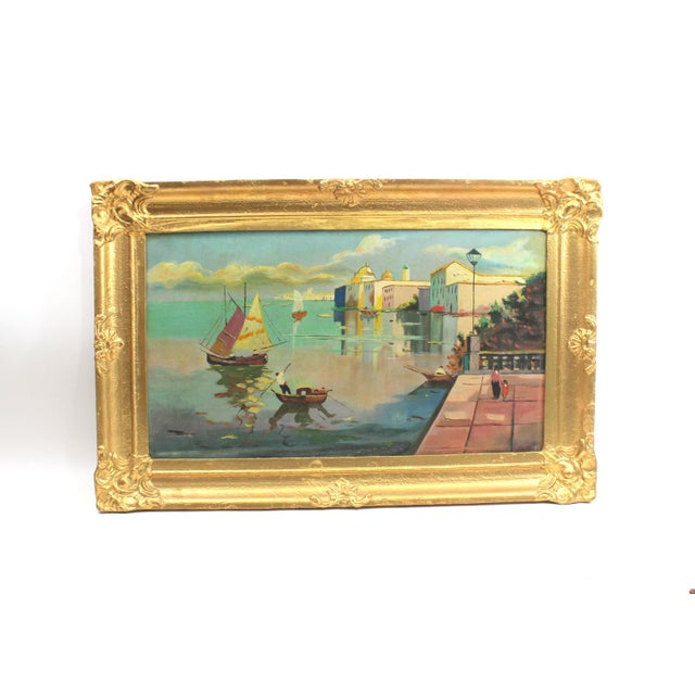 1930s Beach Mediterranean Fine Oil Painting - Image 2 of 9