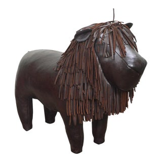 Hand Crafted English Leather Lion Footstool