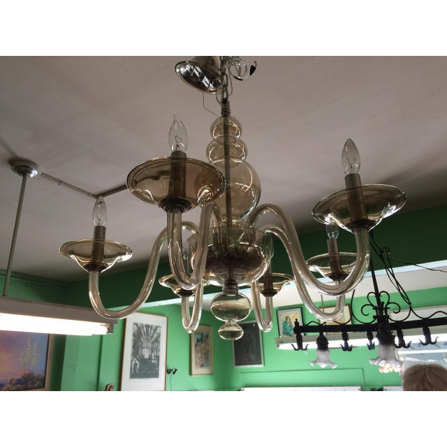 Fantastic smoked glass six light Italian Chandelier in excellent condition, no chips cracks, etc. Wiring is new. Murano....
