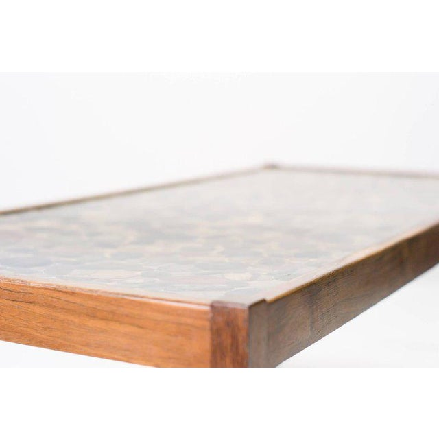 Mid-Century Modern Scandinavian Modern Rosewood Table with Cast Pebbles For Sale - Image 3 of 8