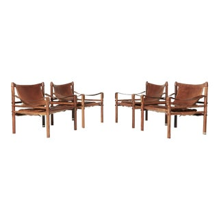 Rare Set of Four Arne Norell Safari Sirocco Chairs, Sweden, 1960s For Sale