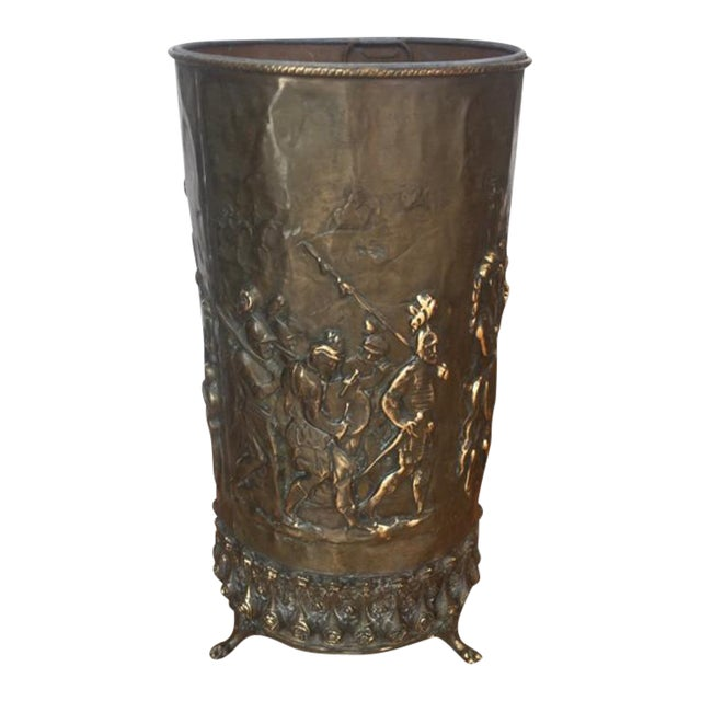 20th Century Gothic Revival Brass Umbrella Stand For Sale