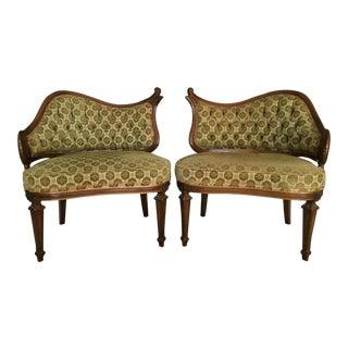 Hollywood Regency Single Arm Fireside Chairs - A Pair