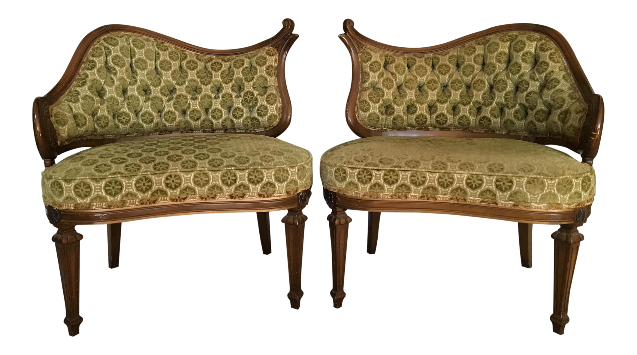 Hollywood Regency Single Arm Fireside Chairs   A Pair