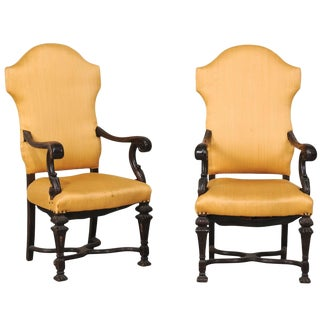 Late 19th Century Italian Carved Wood Armchairs- A Pair For Sale