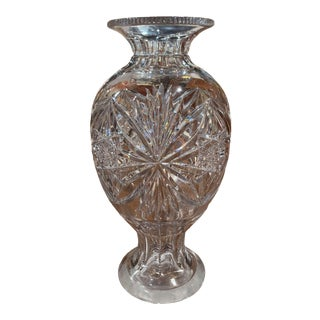 Midcentury Clear Cut Glass Vase With Foliage and Star Motifs For Sale