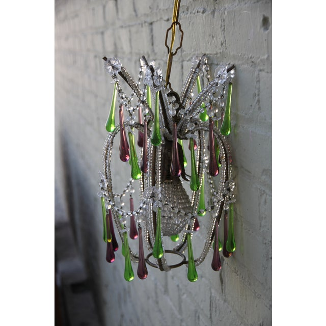 Pineapple Green & Purple Drop Chandelier - Image 8 of 9