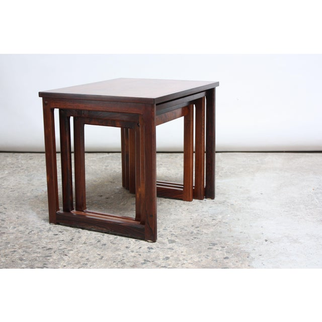 Danish Modern Trio of Danish Rosewood Nesting Tables For Sale - Image 3 of 9
