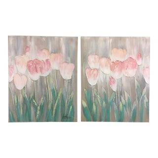 Lee Reynolds Tulip Paintings, a Pair For Sale