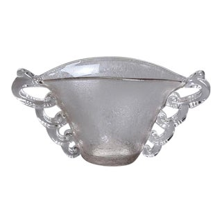 Deco Era Clear Art Glass Vase with Handles For Sale