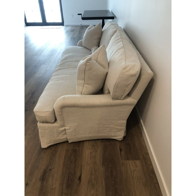 Textile Lee Industries Down FIlled Belgain Linen Sofa For Sale - Image 7 of 13