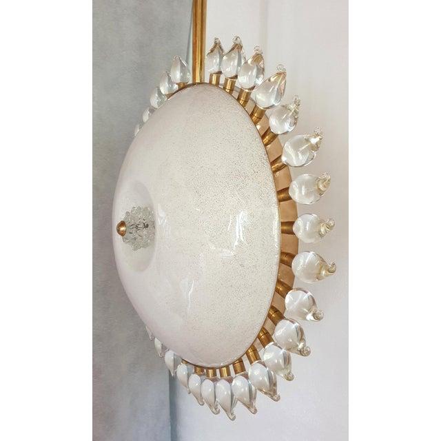 Mediterranean Large Mid-Century Modern Sunflower Murano Glass & Brass Chandelier, Cenedese For Sale - Image 3 of 12