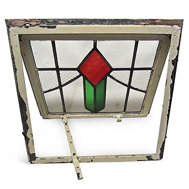 English Cottage Stained Glass Window For Sale - Image 4 of 6