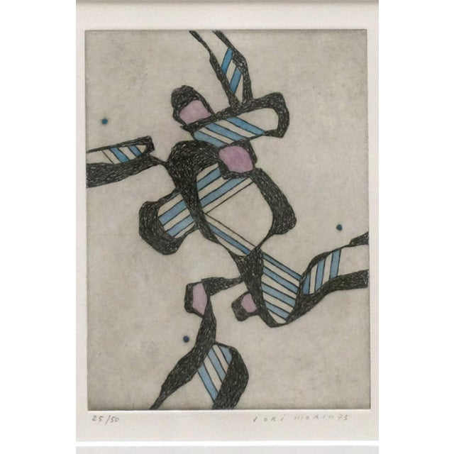 Abstract Hand Colored Lithograph For Sale - Image 4 of 6