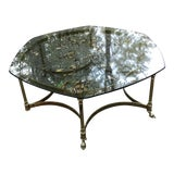 Image of Vintage Regency Labarge Brass and Glass Coffee Table For Sale