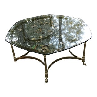 Vintage Regency Labarge Brass and Glass Coffee Table For Sale