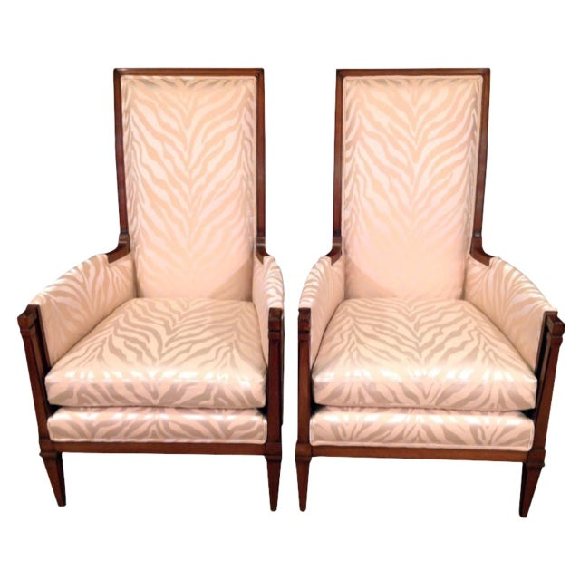 Mid-Century Modern Upholstered Walnut Bergeres - a Pair For Sale In New Orleans - Image 6 of 6