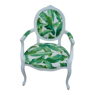 """1980s Vintage """"Tommy Bahama"""" White Upholstered Armchair For Sale"""