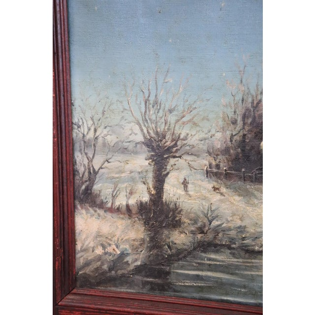 Illustration 20th Century Italian Oil Painting on Canvas Winter Landscape For Sale - Image 3 of 10