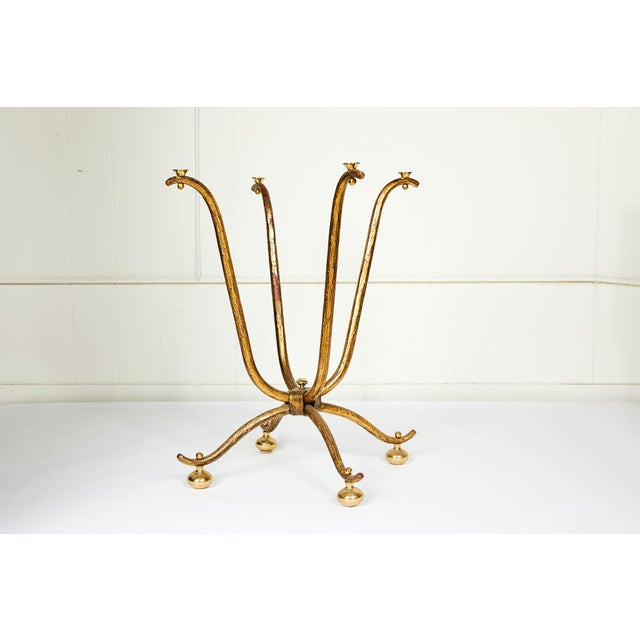 Italian Gilt Wrought Iron and Brass Center Table Base For Sale - Image 10 of 10