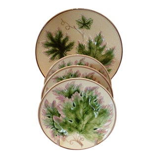 Set of Four Majelica Plates With Leaf Decoration For Sale
