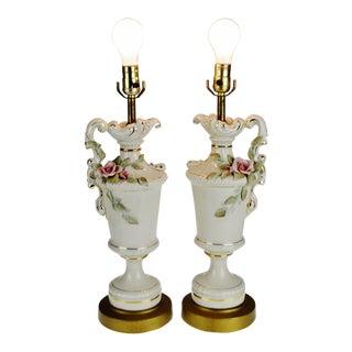 Vintage Porcelain Pitcher Table Lamps - a Pair For Sale