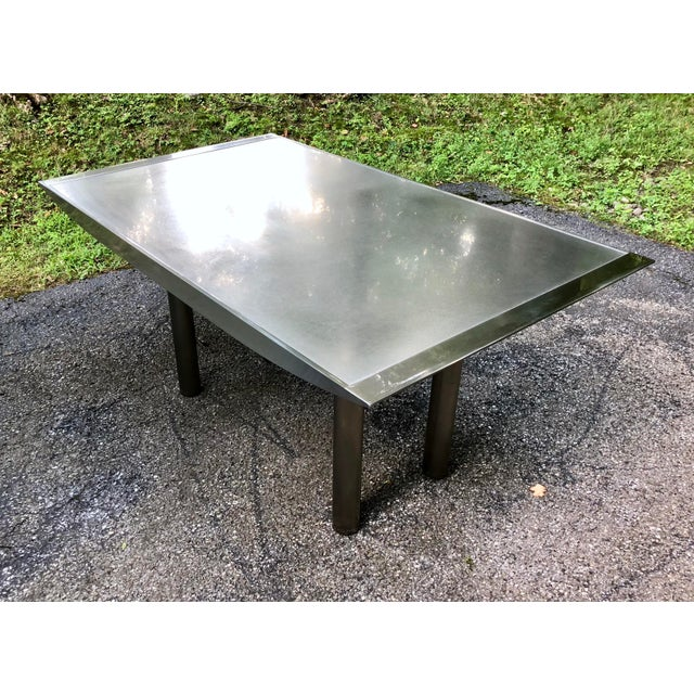 Gray Stanley Friedman Stainless Steel Dining Table for Brueton For Sale - Image 8 of 13